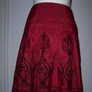 Apt 9 Skirt 6  Red Black Taffeta Velvet Ruffles